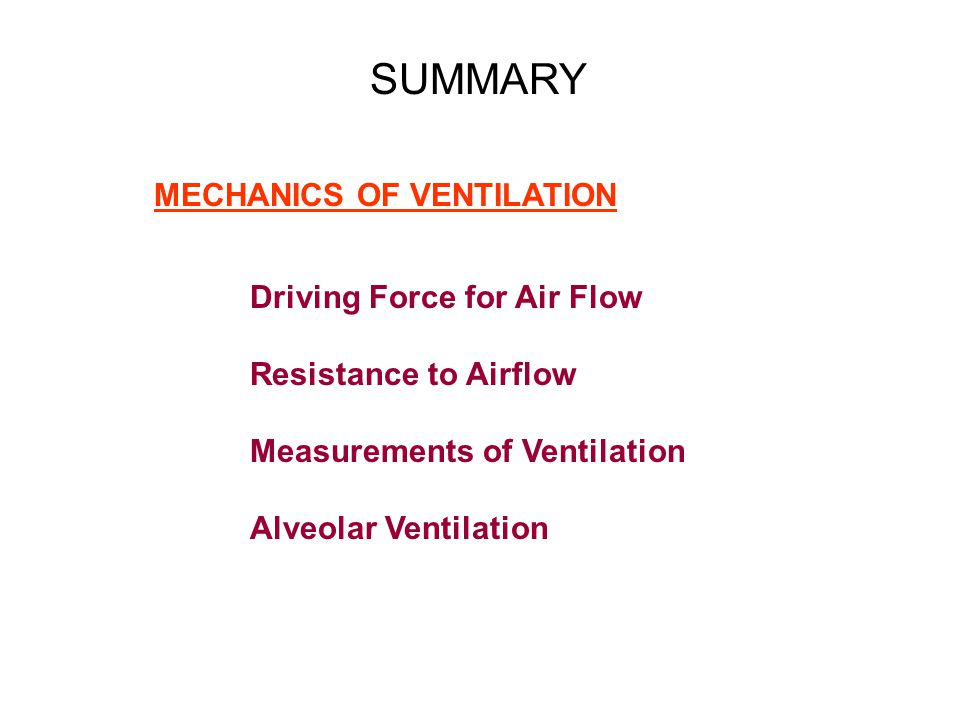 SUMMARY MECHANICS OF VENTILATION Driving Force for Air Flow