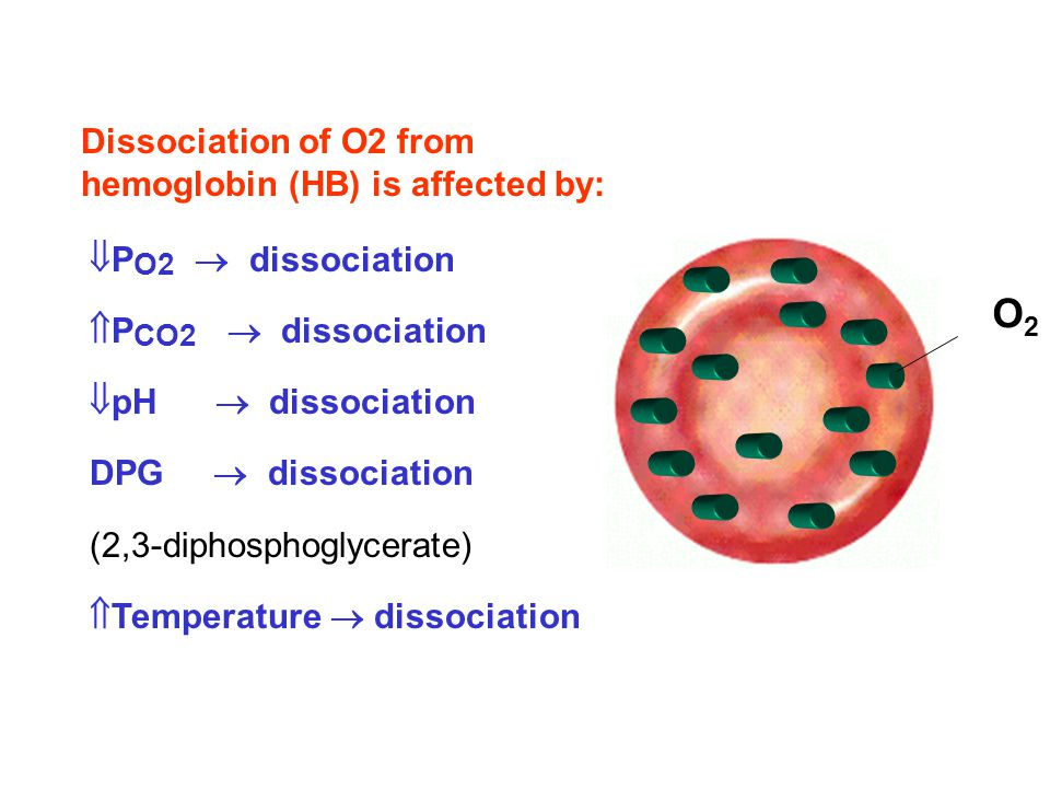 O2 Dissociation of O2 from hemoglobin (HB) is affected by: