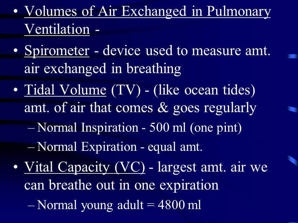 Volumes of Air Exchanged in Pulmonary Ventilation -