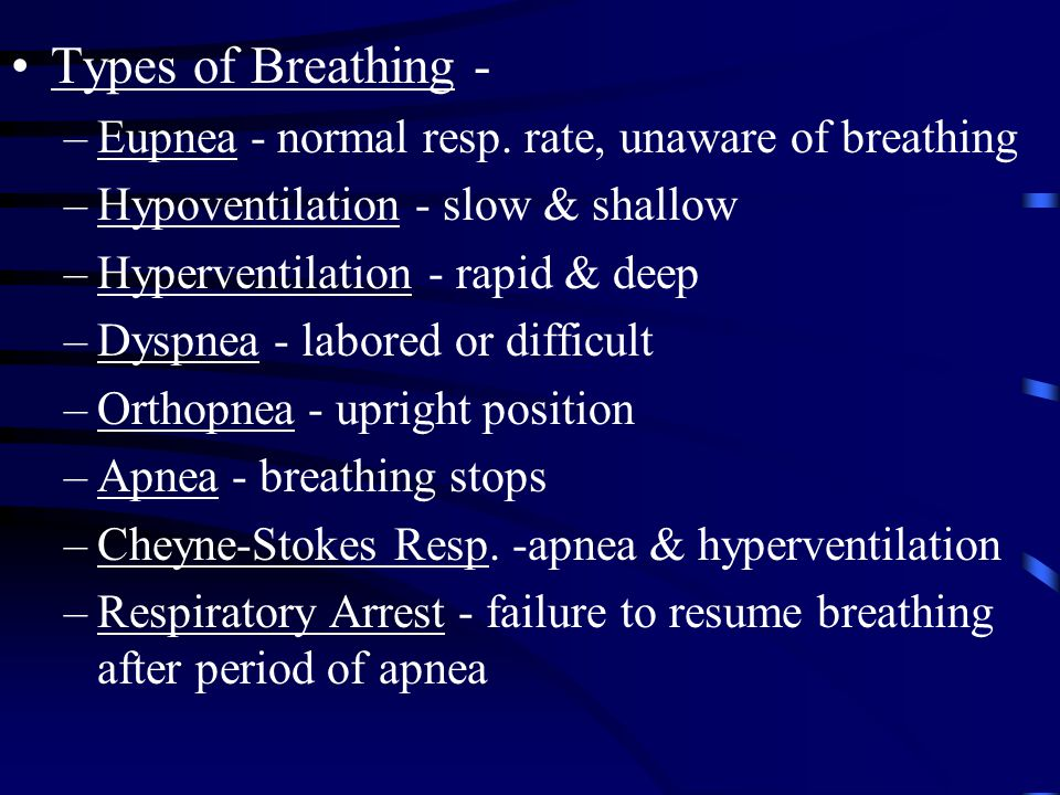 Types of Breathing - Eupnea - normal resp. rate, unaware of breathing