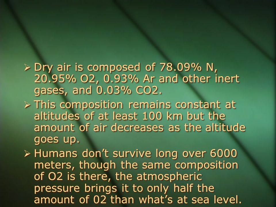 Dry air is composed of 78. 09% N, 20. 95% O2, 0