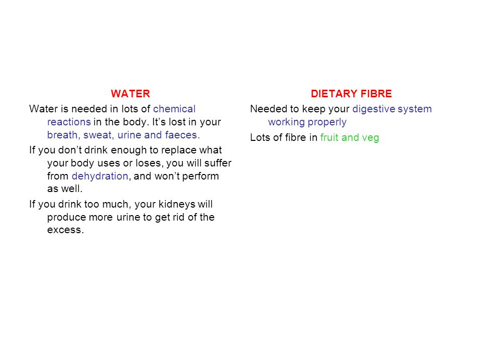 WATER Water is needed in lots of chemical reactions in the body. It's lost in your breath, sweat, urine and faeces.