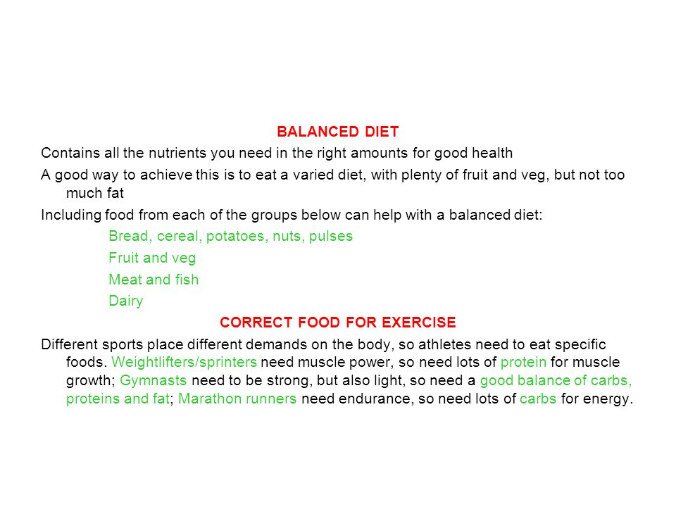 CORRECT FOOD FOR EXERCISE