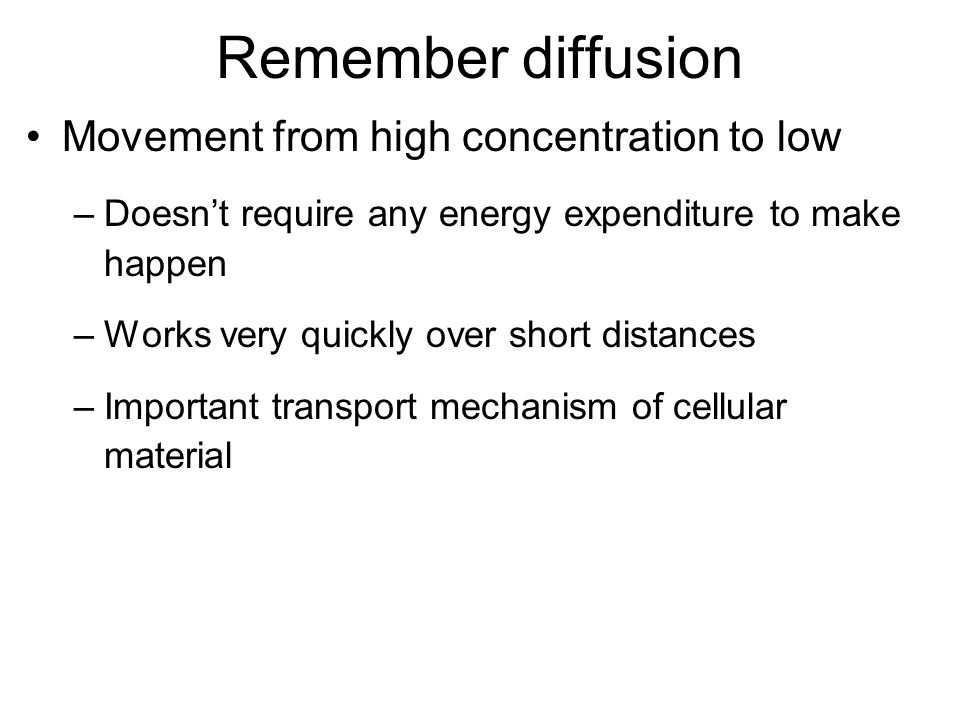 Remember diffusion Movement from high concentration to low