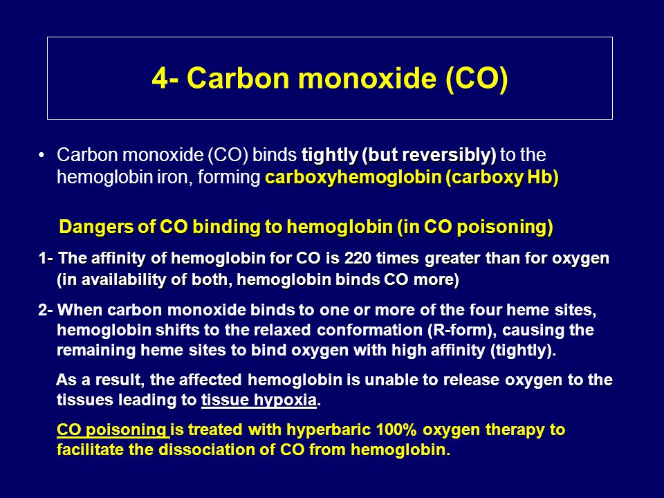 4- Carbon monoxide (CO) Carbon monoxide (CO) binds tightly (but reversibly) to the hemoglobin iron, forming carboxyhemoglobin (carboxy Hb)