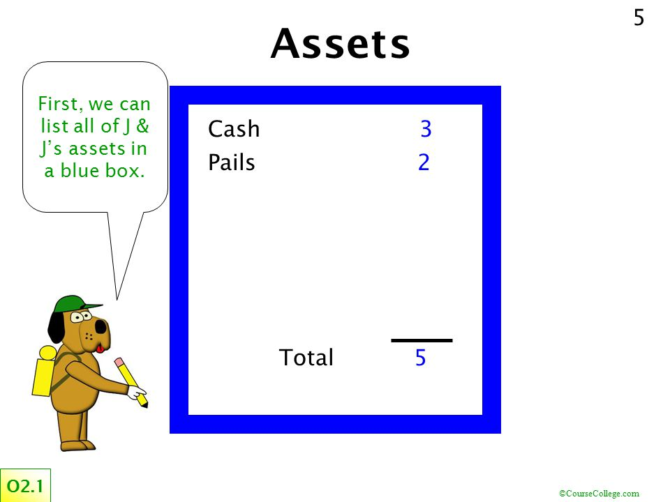 First, we can list all of J & J's assets in a blue box.