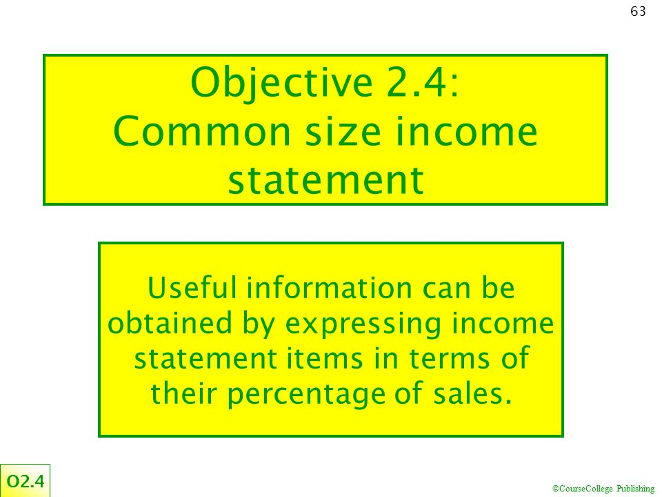 Objective 2.4: Common size income statement