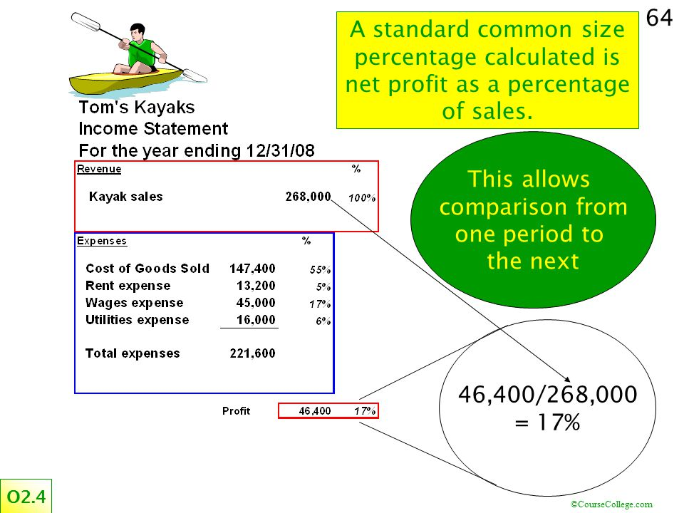 A standard common size percentage calculated is net profit as a percentage of sales.
