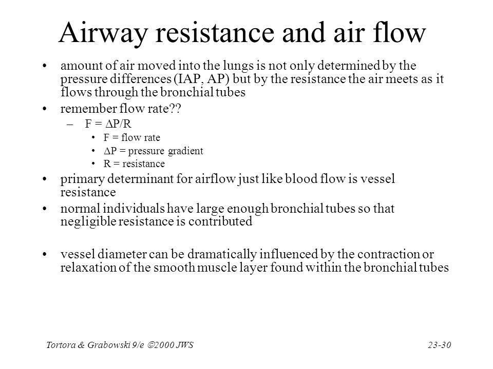 Airway resistance and air flow