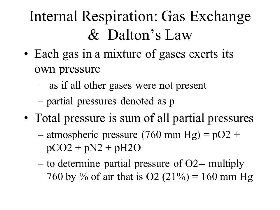 Internal Respiration: Gas Exchange & Dalton's Law
