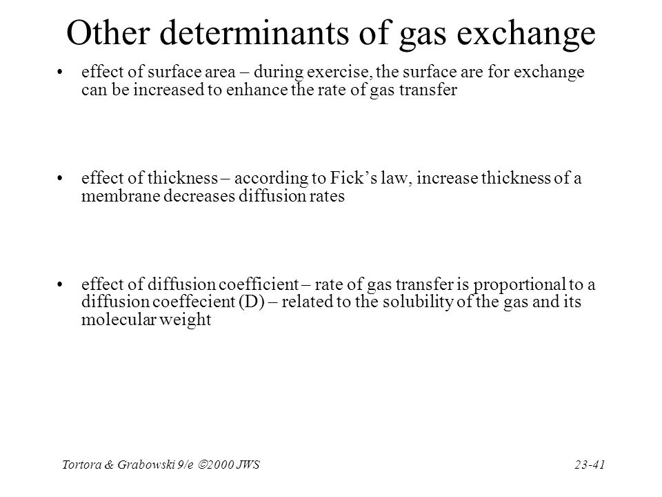 Other determinants of gas exchange