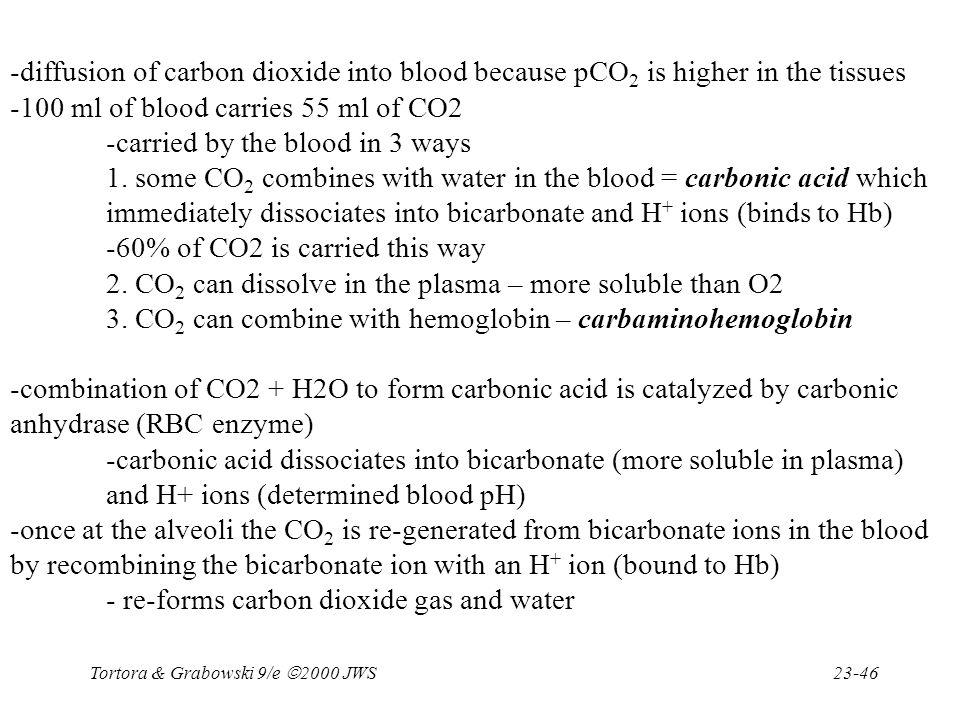 -100 ml of blood carries 55 ml of CO2 -carried by the blood in 3 ways