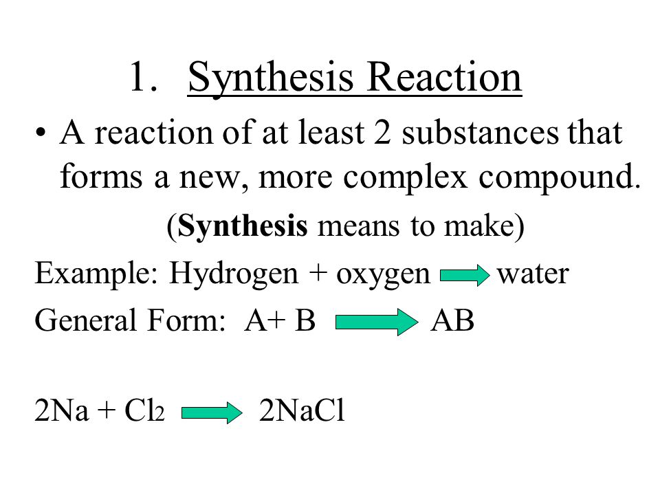 Synthesis Reaction A reaction of at least 2 substances that forms a new, more complex compound. (Synthesis means to make)