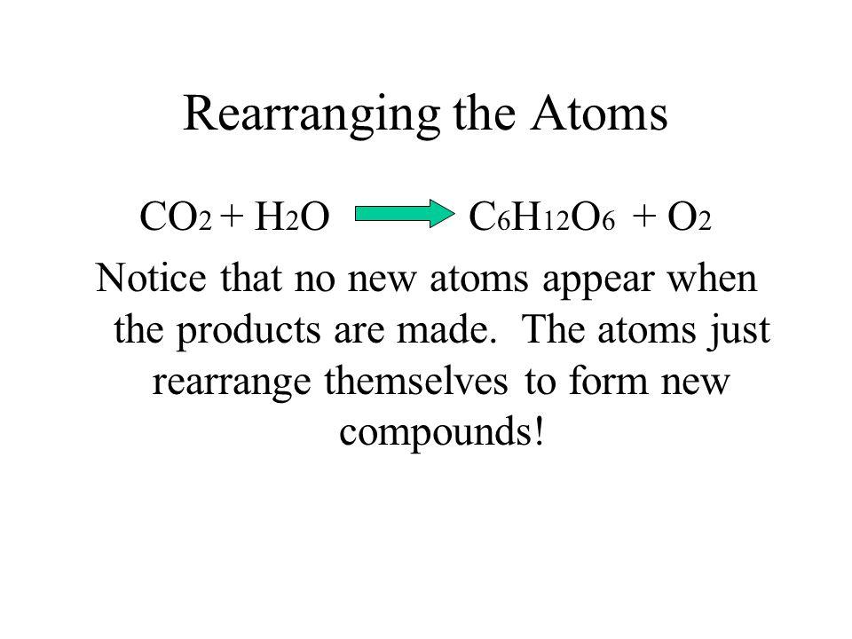 Rearranging the Atoms CO2 + H2O C6H12O6 + O2