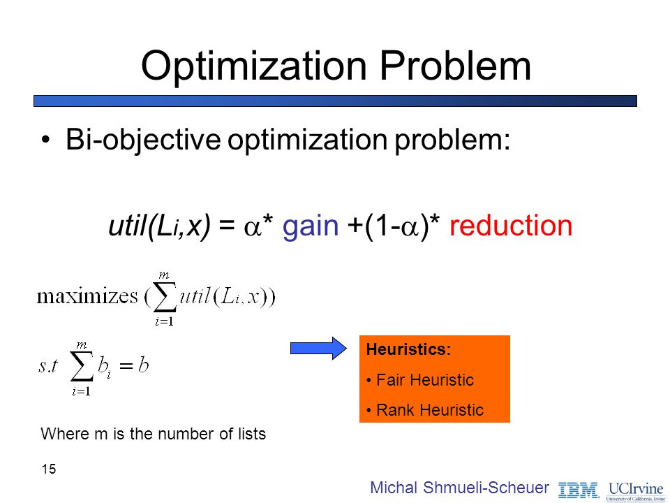 Optimization Problem Bi-objective optimization problem: