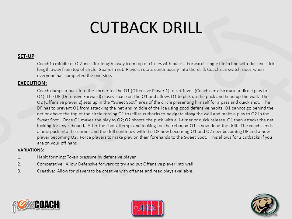 CUTBACK DRILL SET-UP: EXECUTION: