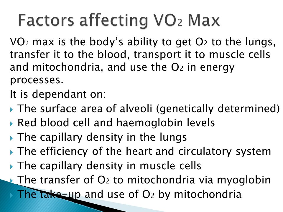 Factors affecting VO2 Max