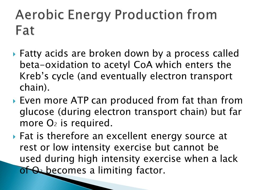 Aerobic Energy Production from Fat