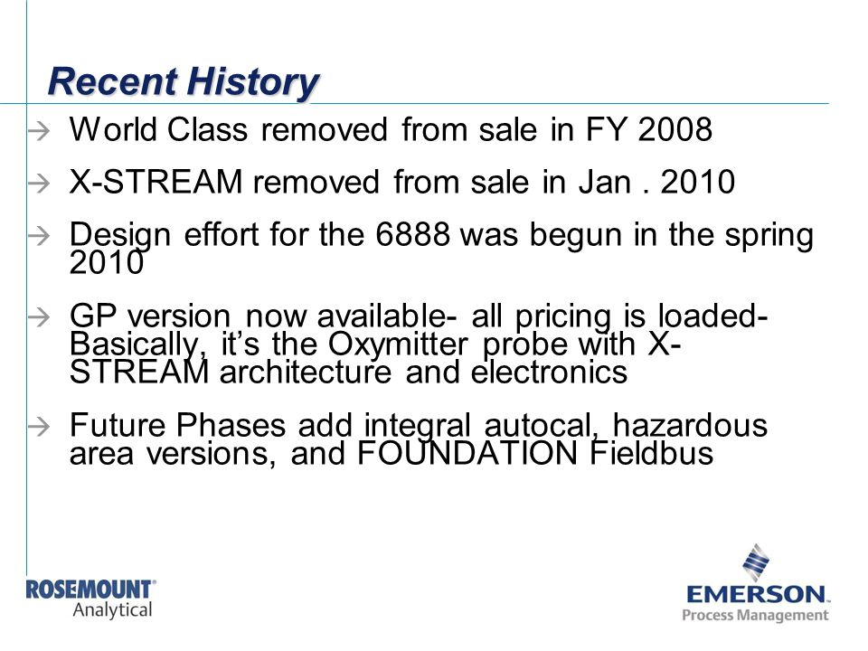 Recent History World Class removed from sale in FY 2008
