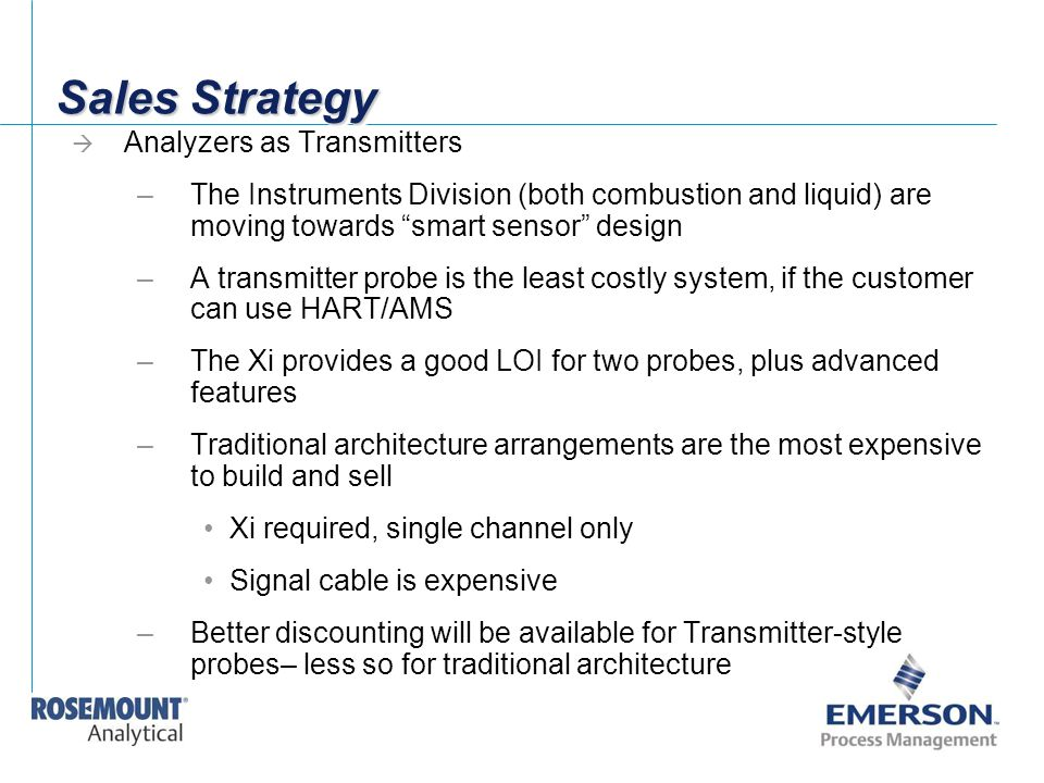 Sales Strategy Analyzers as Transmitters