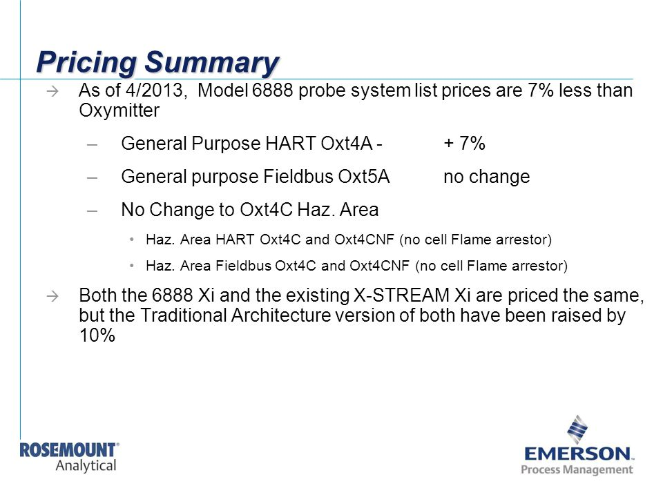 Pricing Summary As of 4/2013, Model 6888 probe system list prices are 7% less than Oxymitter. General Purpose HART Oxt4A - + 7%