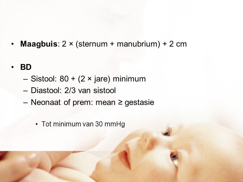 Maagbuis: 2 × (sternum + manubrium) + 2 cm BD