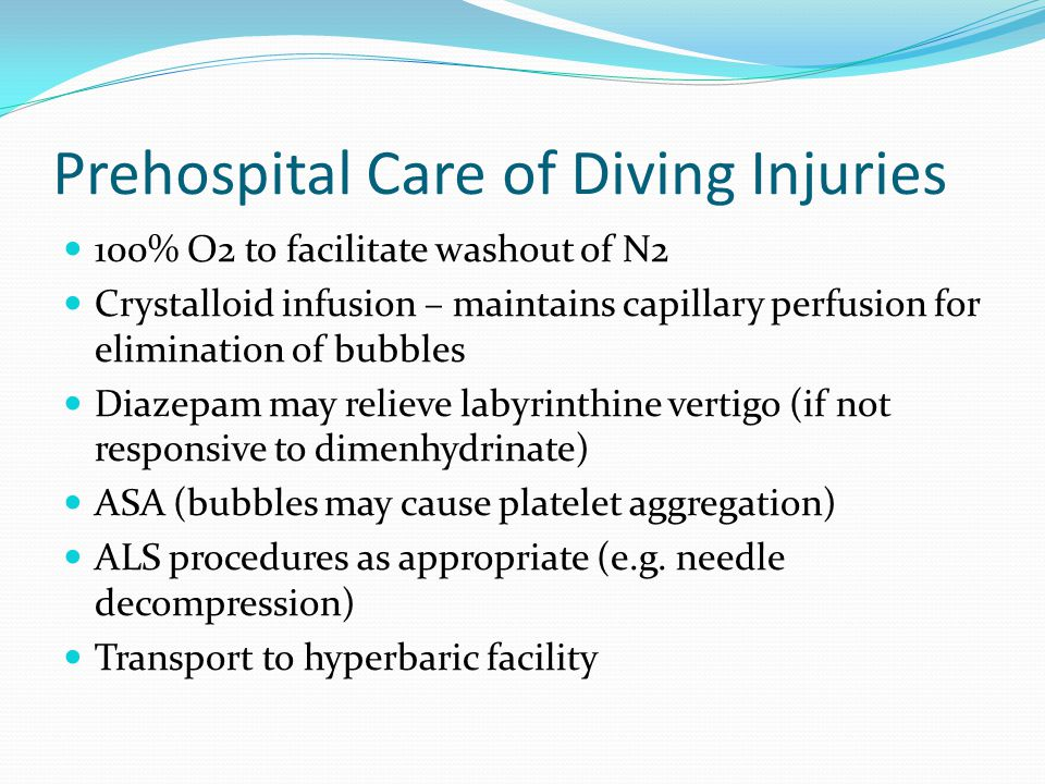 Prehospital Care of Diving Injuries