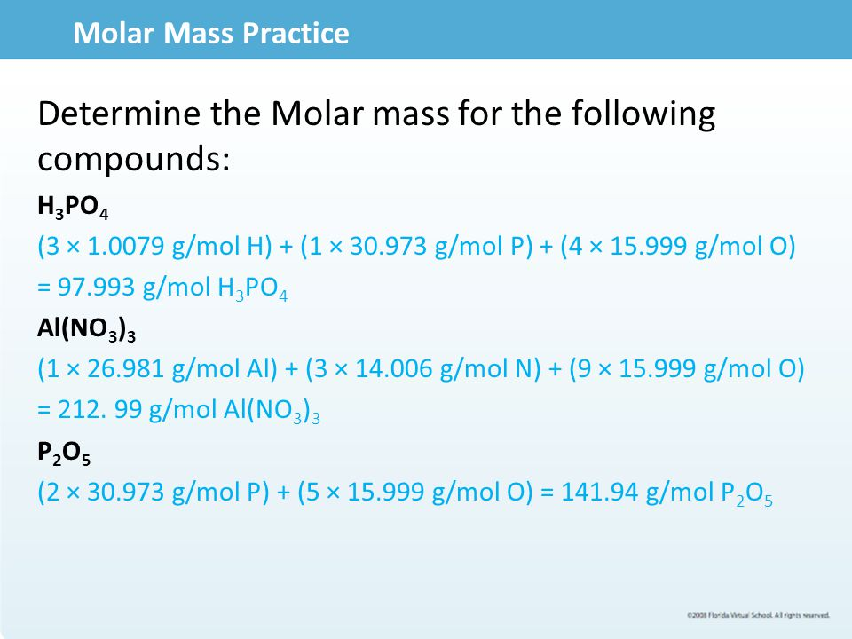 Determine the Molar mass for the following compounds: