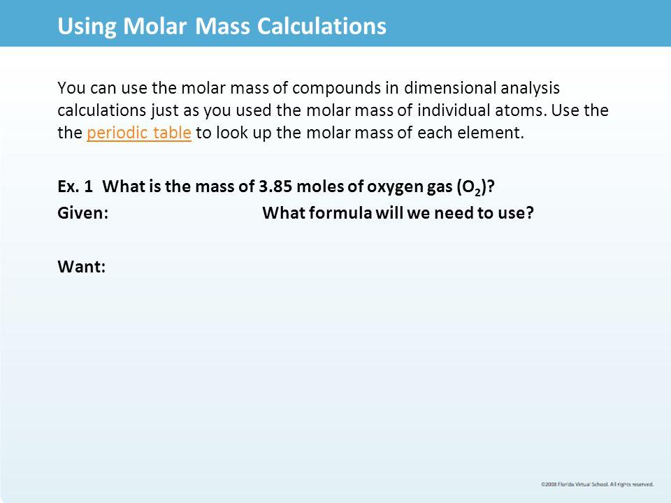Using Molar Mass Calculations