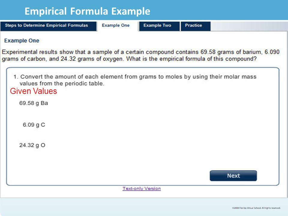 Empirical Formula Example