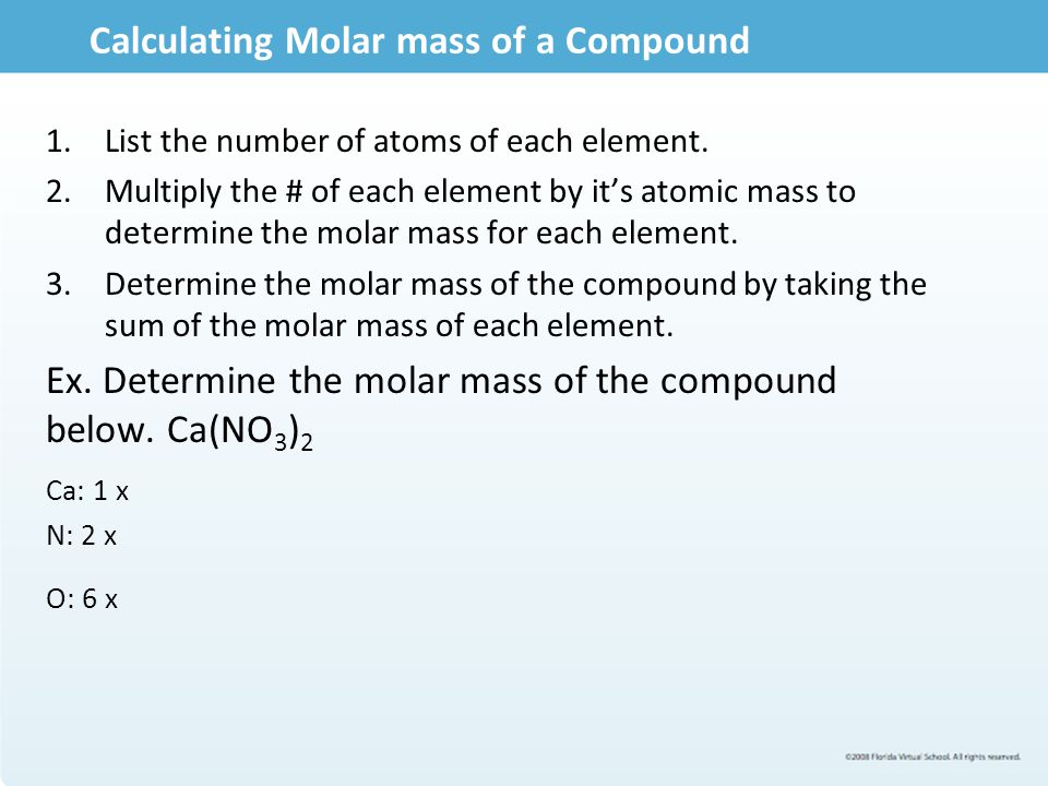 Calculating Molar mass of a Compound