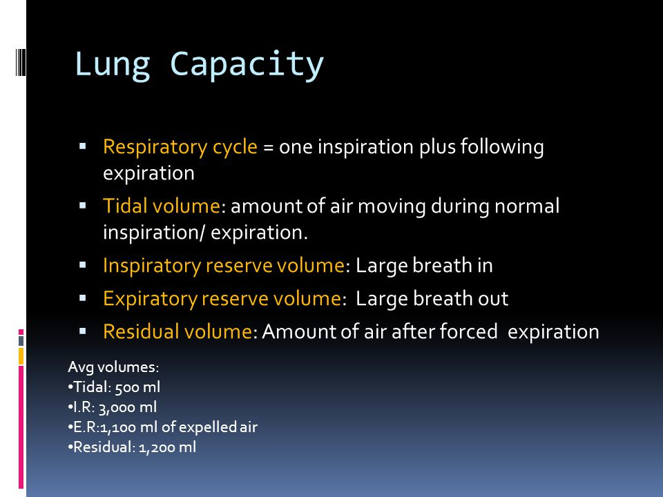 Lung Capacity Respiratory cycle = one inspiration plus following expiration.