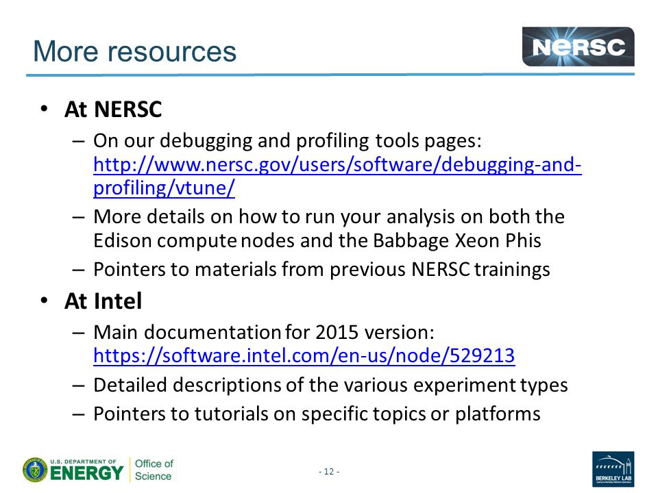 More resources At NERSC At Intel