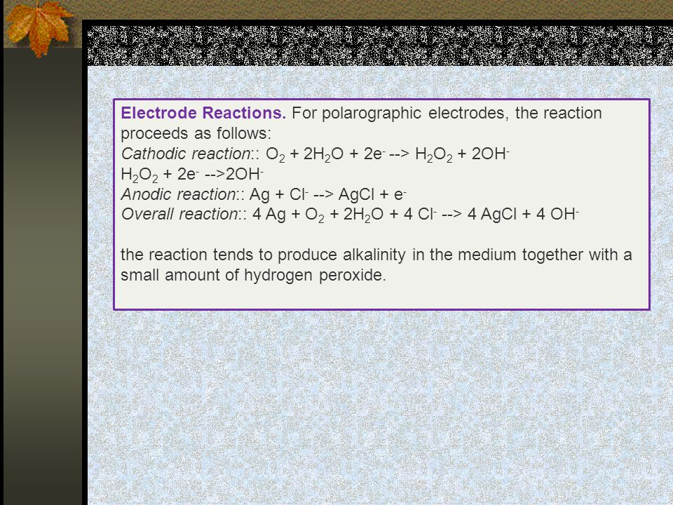 Electrode Reactions. For polarographic electrodes, the reaction proceeds as follows: