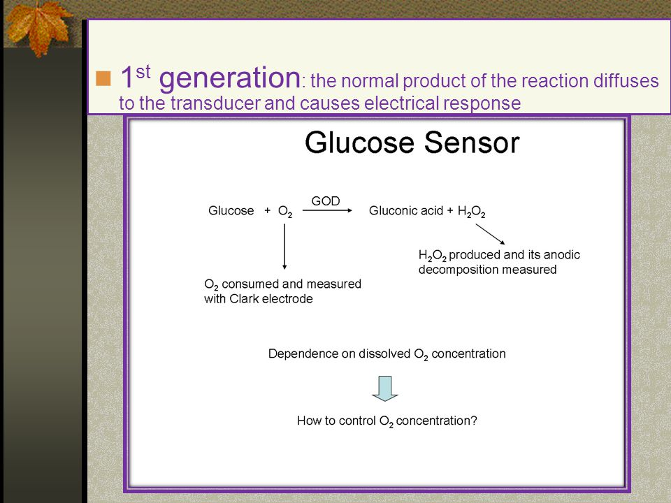1st generation: the normal product of the reaction diffuses to the transducer and causes electrical response