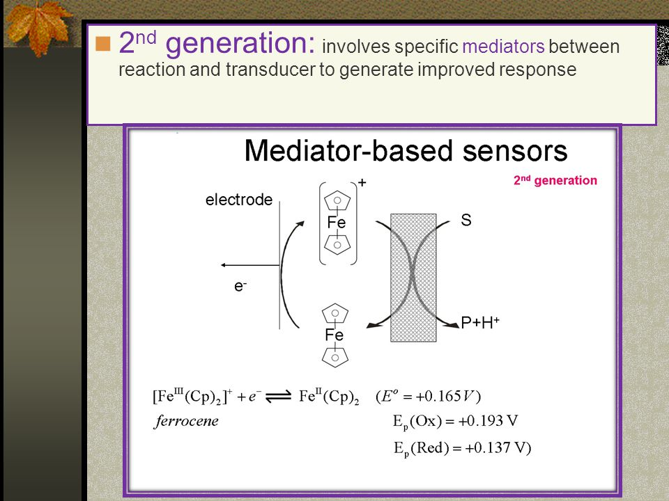 2nd generation: involves specific mediators between reaction and transducer to generate improved response