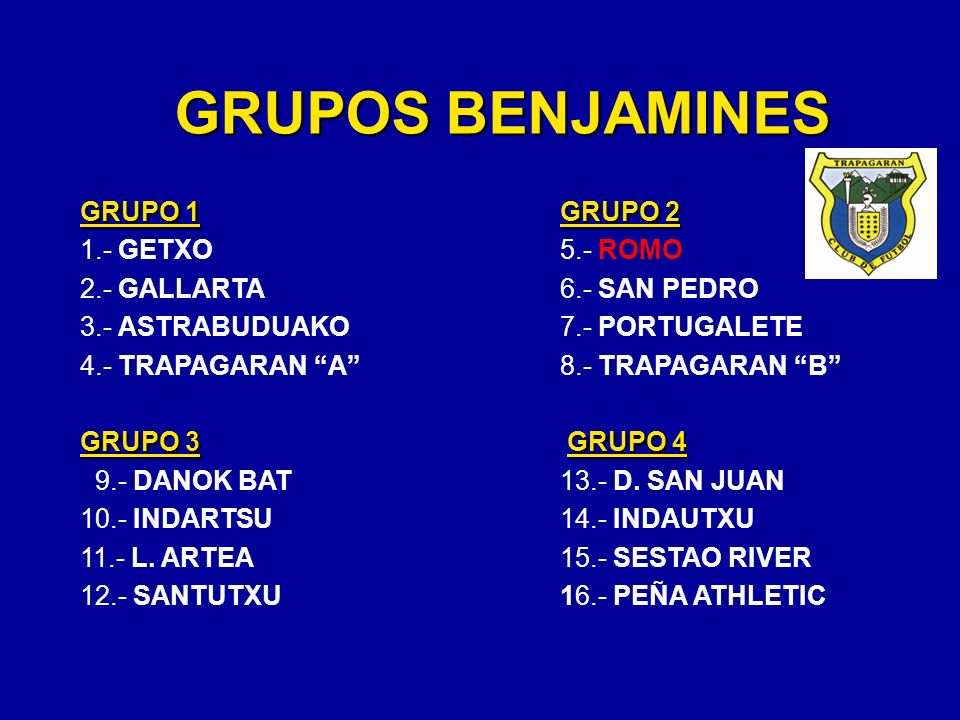 GRUPOS BENJAMINES GRUPO 1 GRUPO 2 1.- GETXO 5.- ROMO