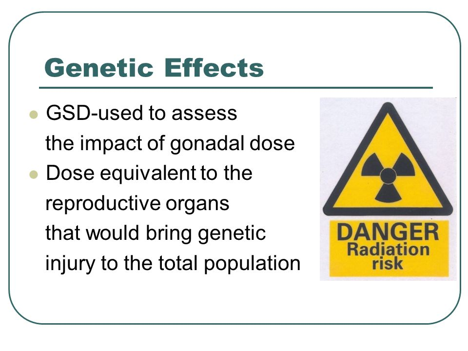 Genetic Effects GSD-used to assess the impact of gonadal dose