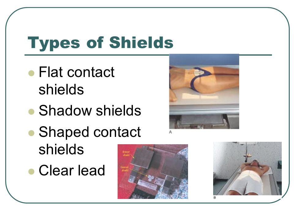 Types of Shields Flat contact shields Shadow shields