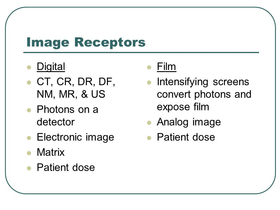 Image Receptors Digital CT, CR, DR, DF, NM, MR, & US
