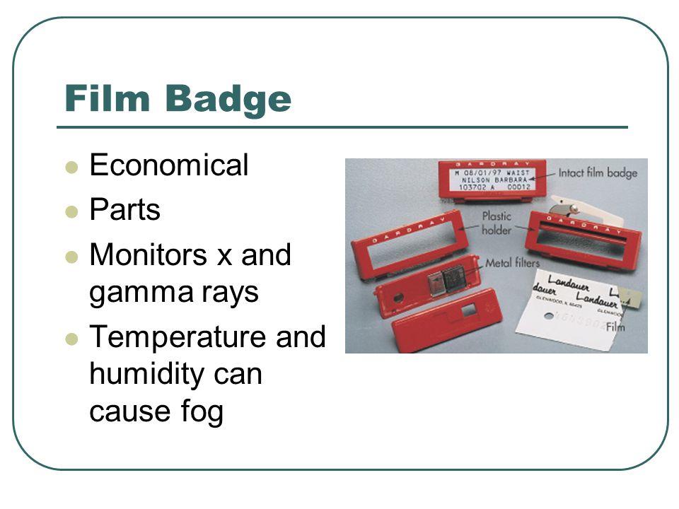 Film Badge Economical Parts Monitors x and gamma rays