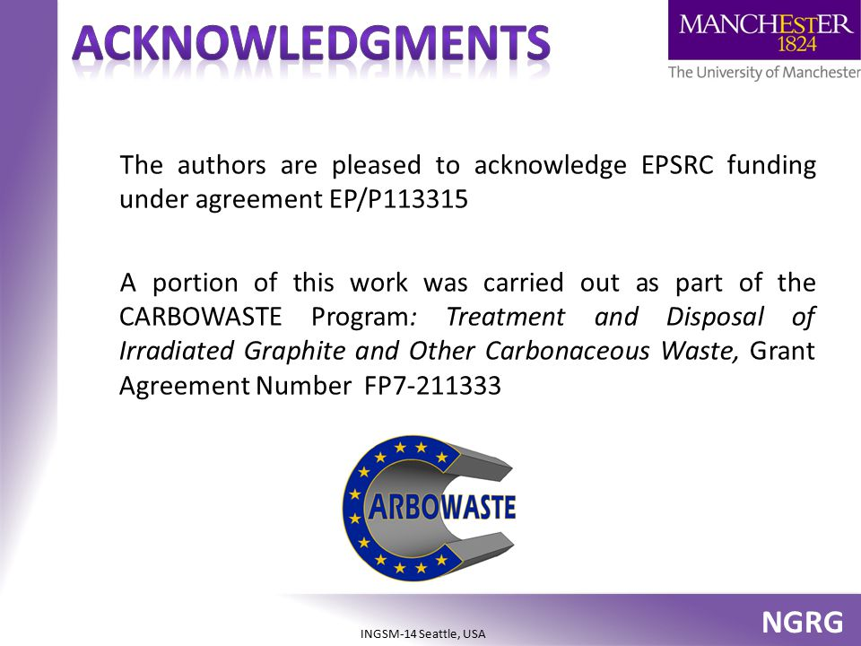 acknowledgments The authors are pleased to acknowledge EPSRC funding under agreement EP/P113315.