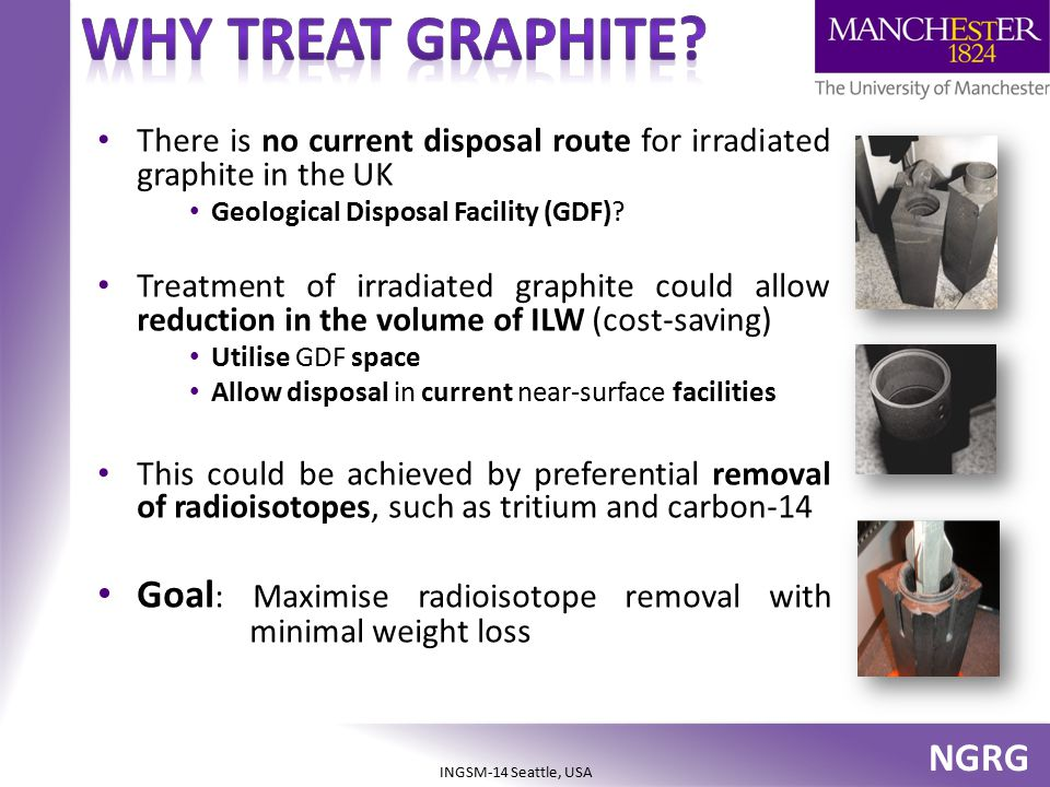 Why treat graphite There is no current disposal route for irradiated graphite in the UK. Geological Disposal Facility (GDF)