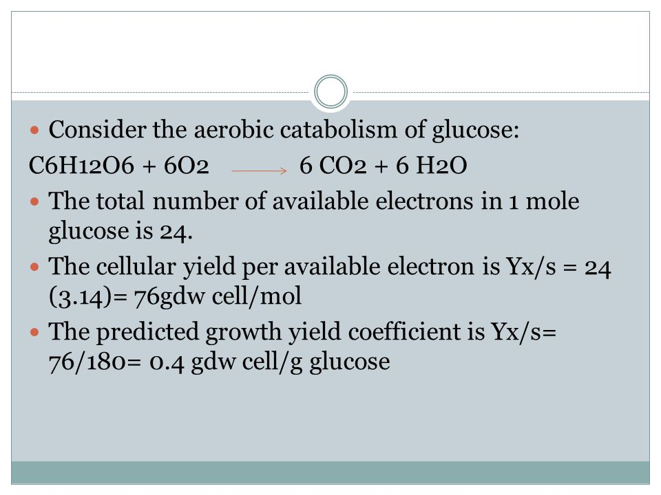Consider the aerobic catabolism of glucose: