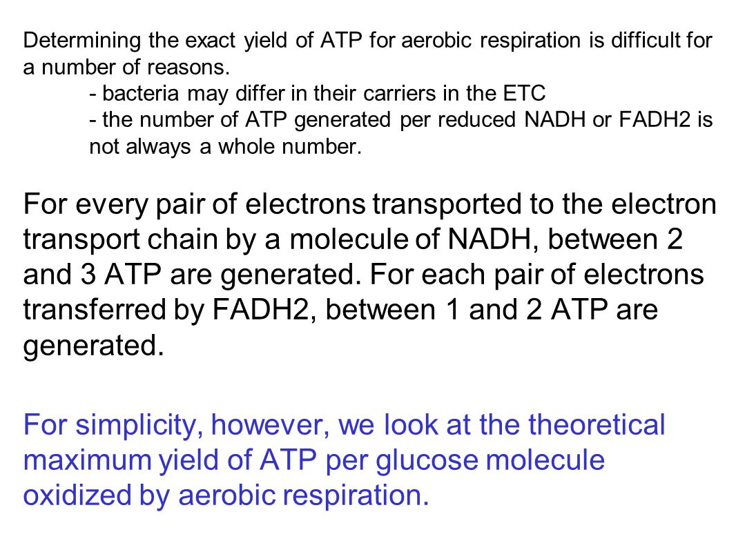 Determining the exact yield of ATP for aerobic respiration is difficult for a number of reasons.