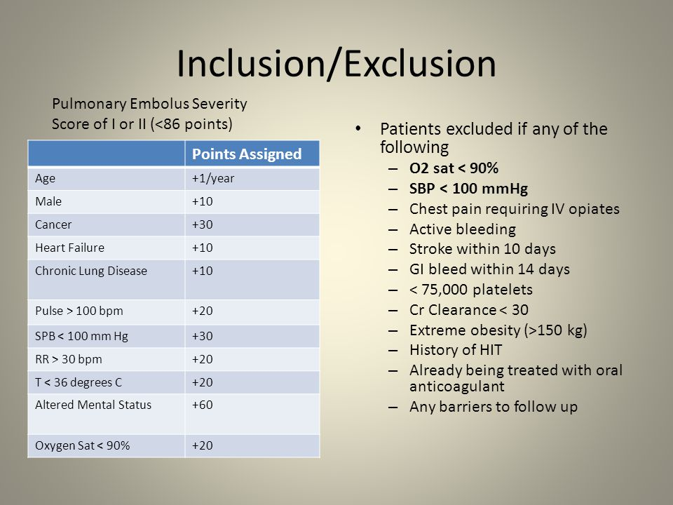 Inclusion/Exclusion Patients excluded if any of the following