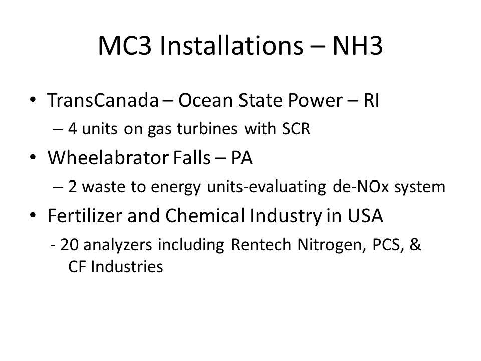 MC3 Installations – NH3 TransCanada – Ocean State Power – RI
