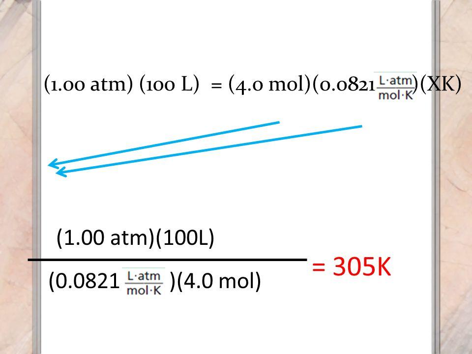 = 305K (1.00 atm)(100L) (0.0821 )(4.0 mol) (1.00 atm) (100 L)