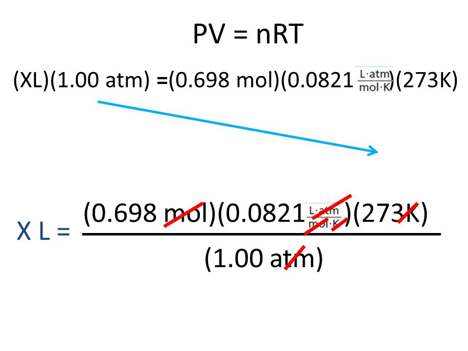 PV = nRT (0.698 mol)(0.0821 )(273K) X L = (1.00 atm)