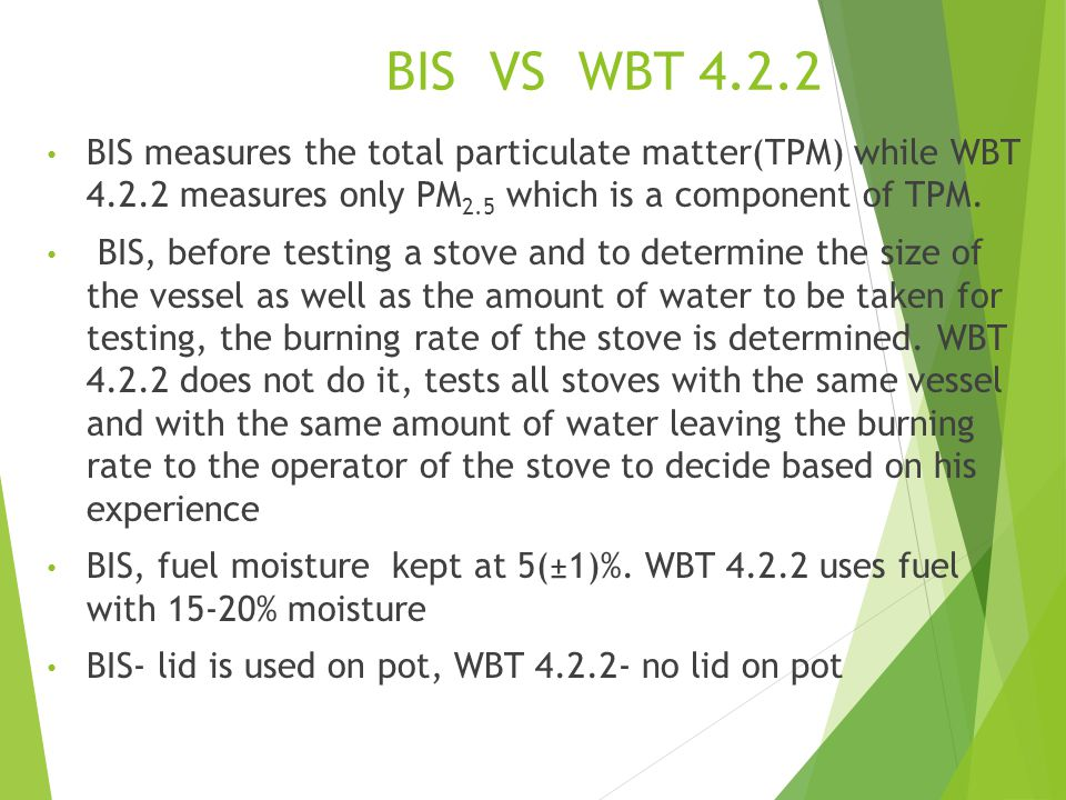 BIS VS WBT 4.2.2 BIS measures the total particulate matter(TPM) while WBT 4.2.2 measures only PM2.5 which is a component of TPM.